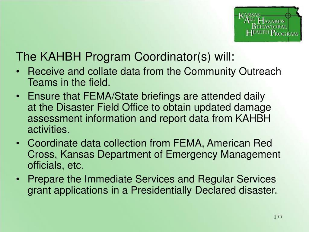 The KAHBH Program Coordinator(s) will: