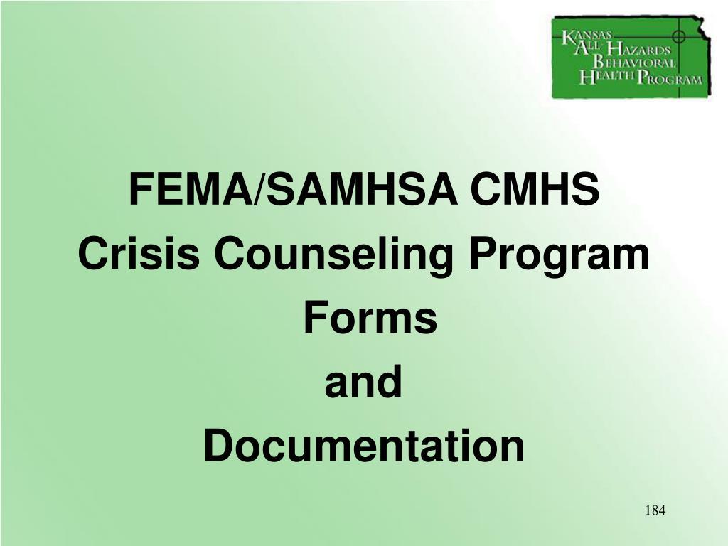 FEMA/SAMHSA CMHS