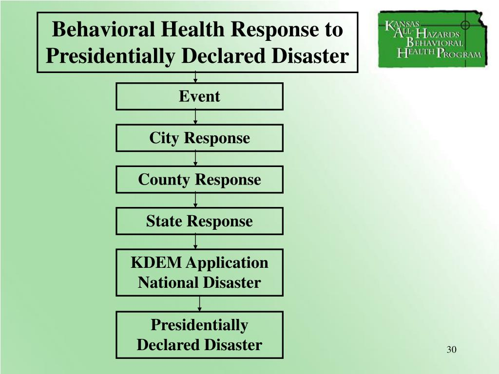 Behavioral Health Response to Presidentially Declared Disaster