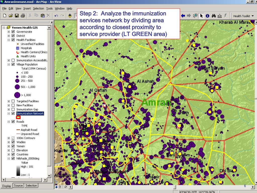 Step 2:  Analyze the immunization services network by dividing area according to closest proximity to service provider (LT GREEN area)