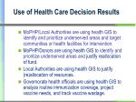 use of health care decision results