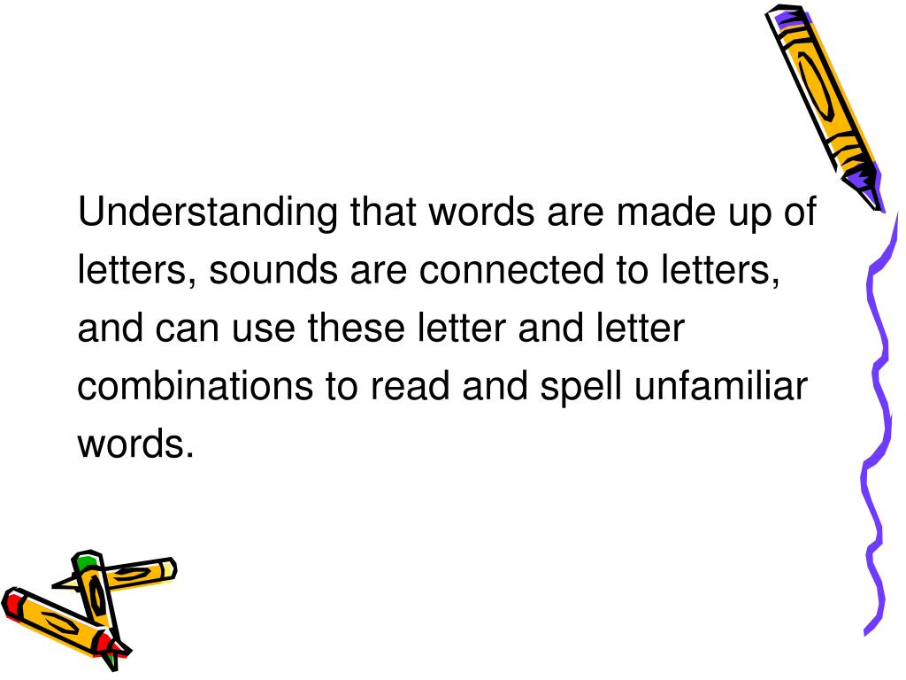 Understanding that words are made up of