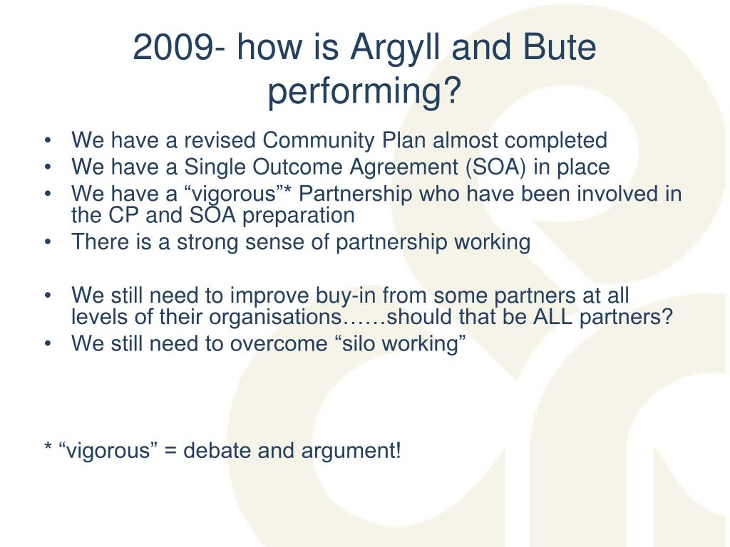 2009- how is Argyll and Bute performing?