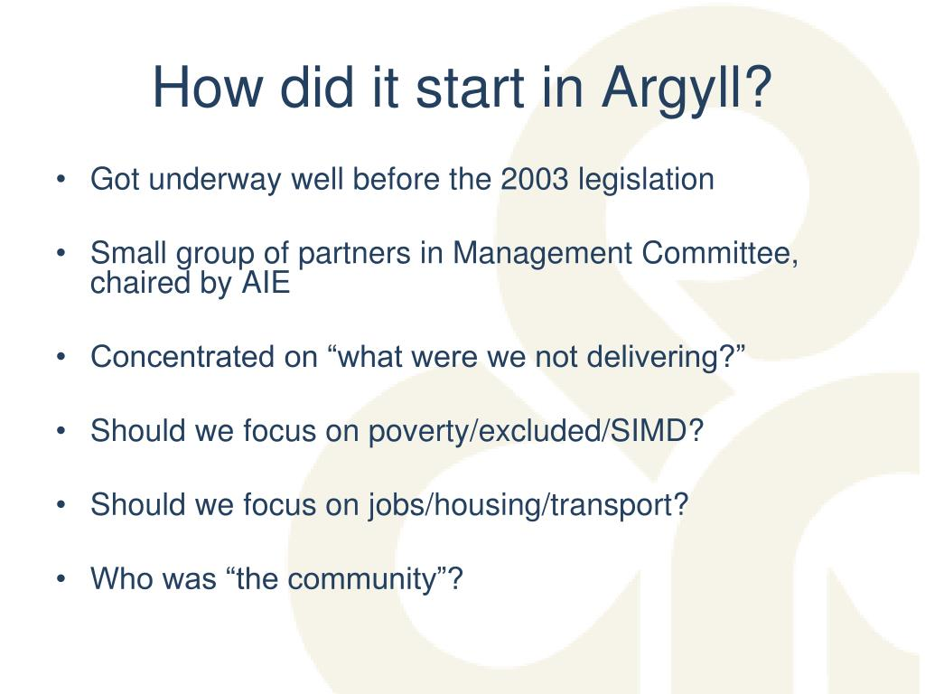 How did it start in Argyll?