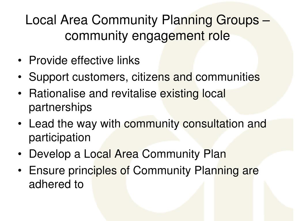 Local Area Community Planning Groups – community engagement role