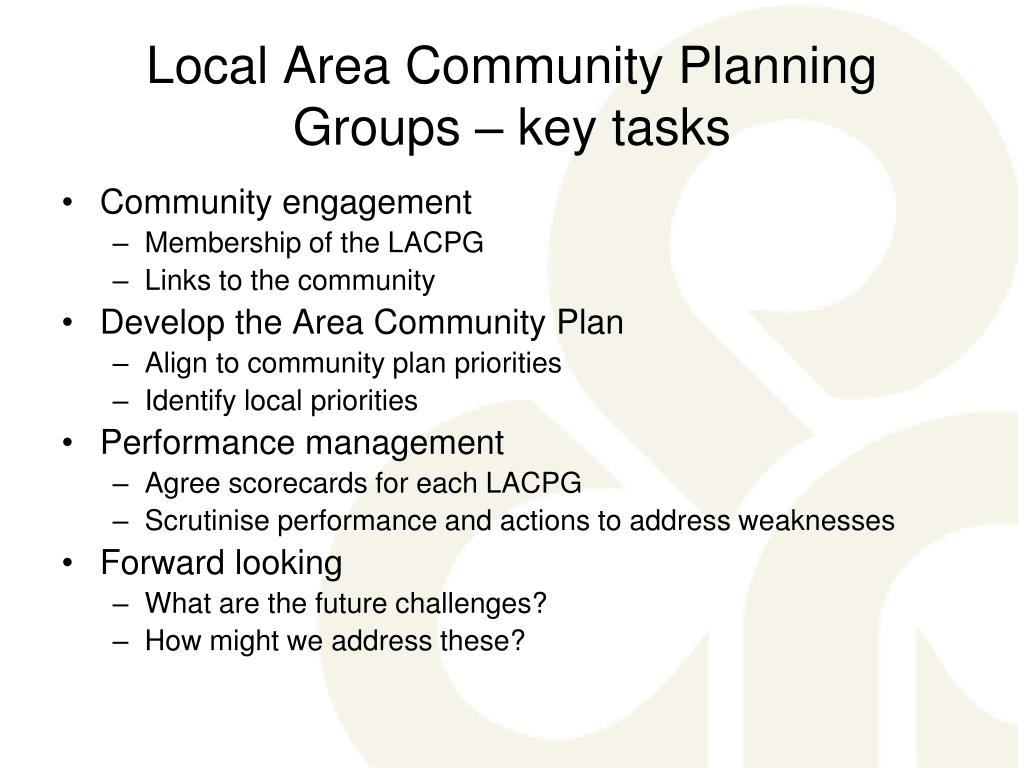 Local Area Community Planning Groups – key tasks