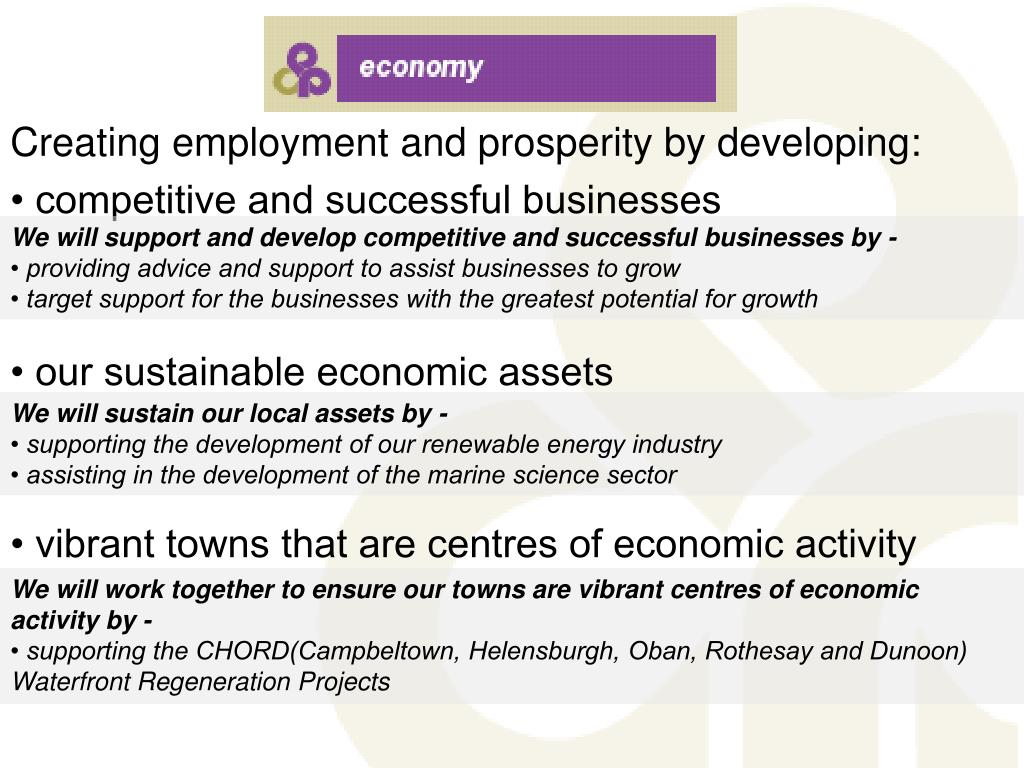 Creating employment and prosperity by developing: