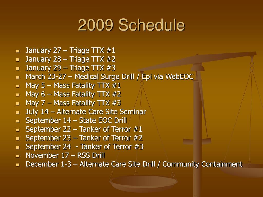 2009 Schedule
