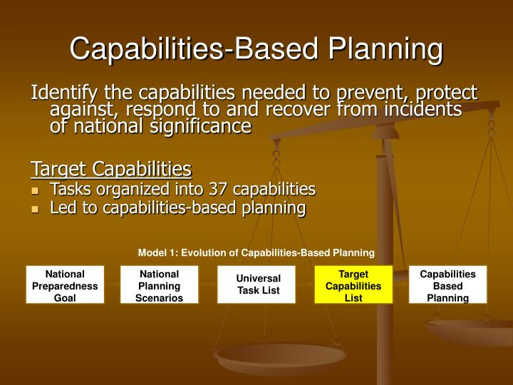 Capabilities based planning
