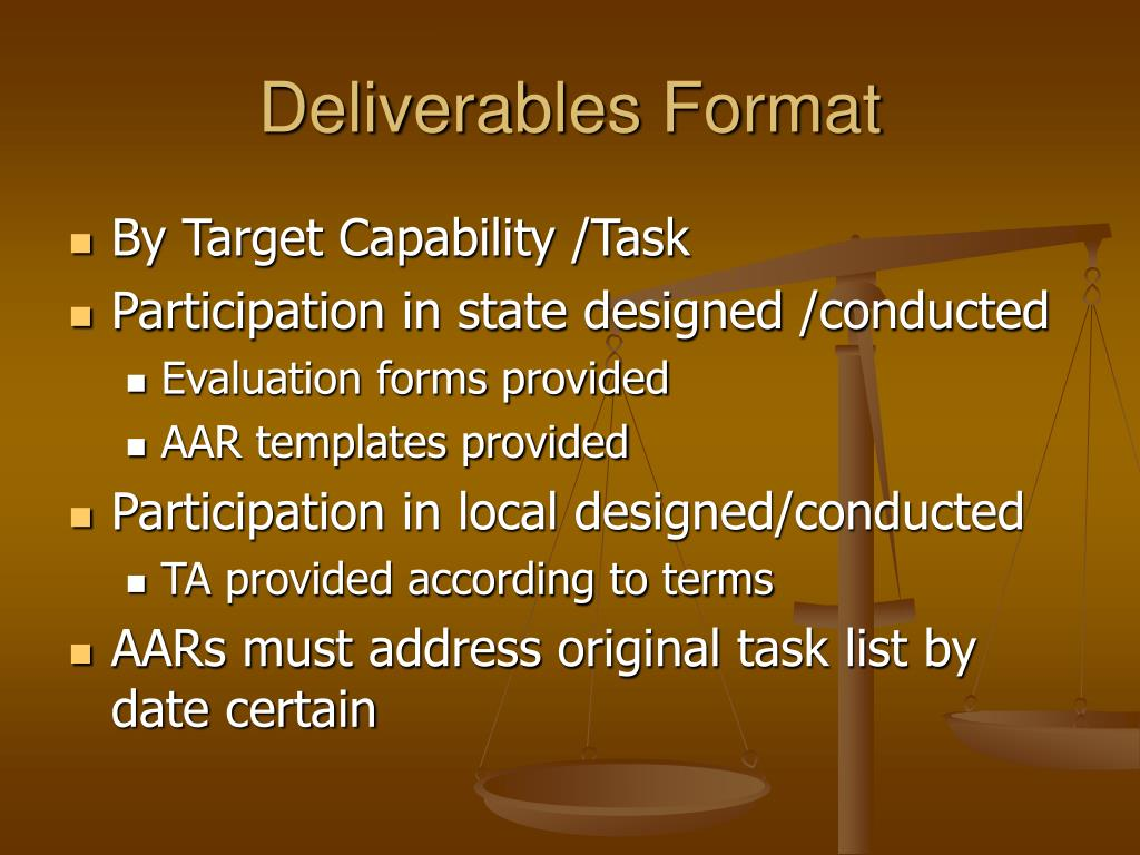 Deliverables Format