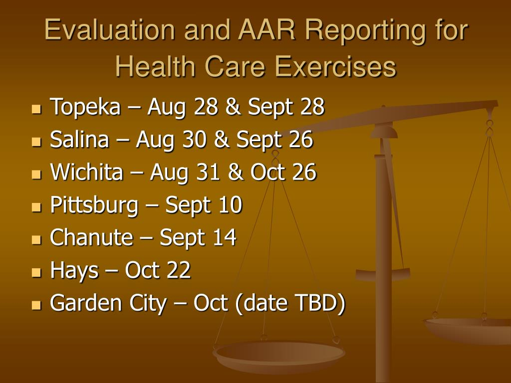 Evaluation and AAR Reporting for Health Care Exercises