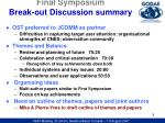 final symposium break out discussion summary