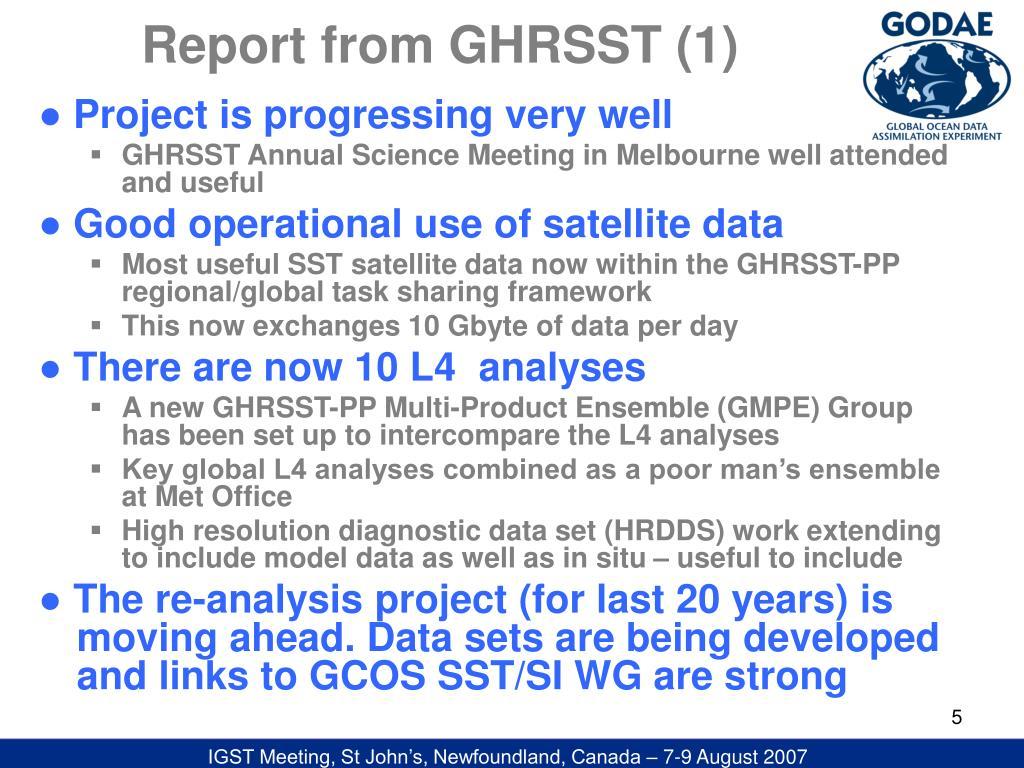 Report from GHRSST (1)