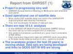 report from ghrsst 1