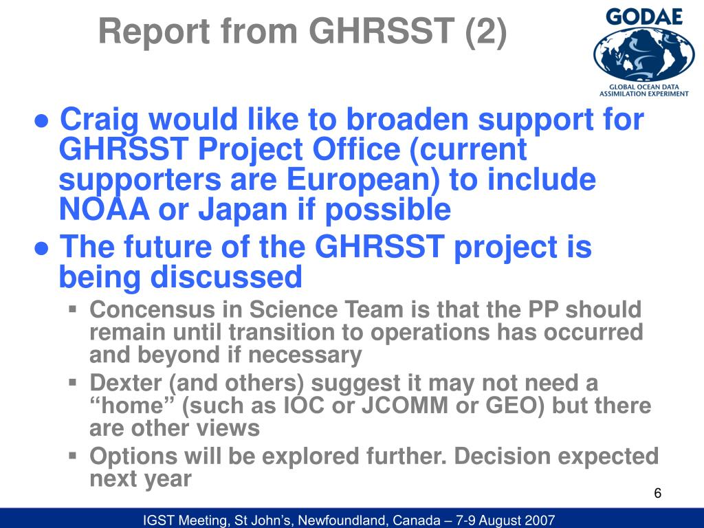 Report from GHRSST (2)