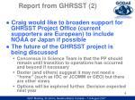 report from ghrsst 2