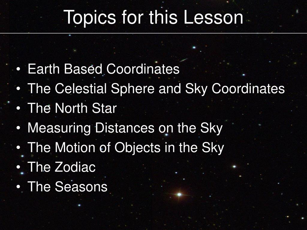 Topics for this Lesson
