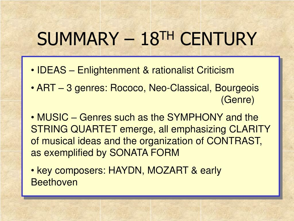 summary 18 th century