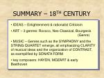 summary 18 th century15
