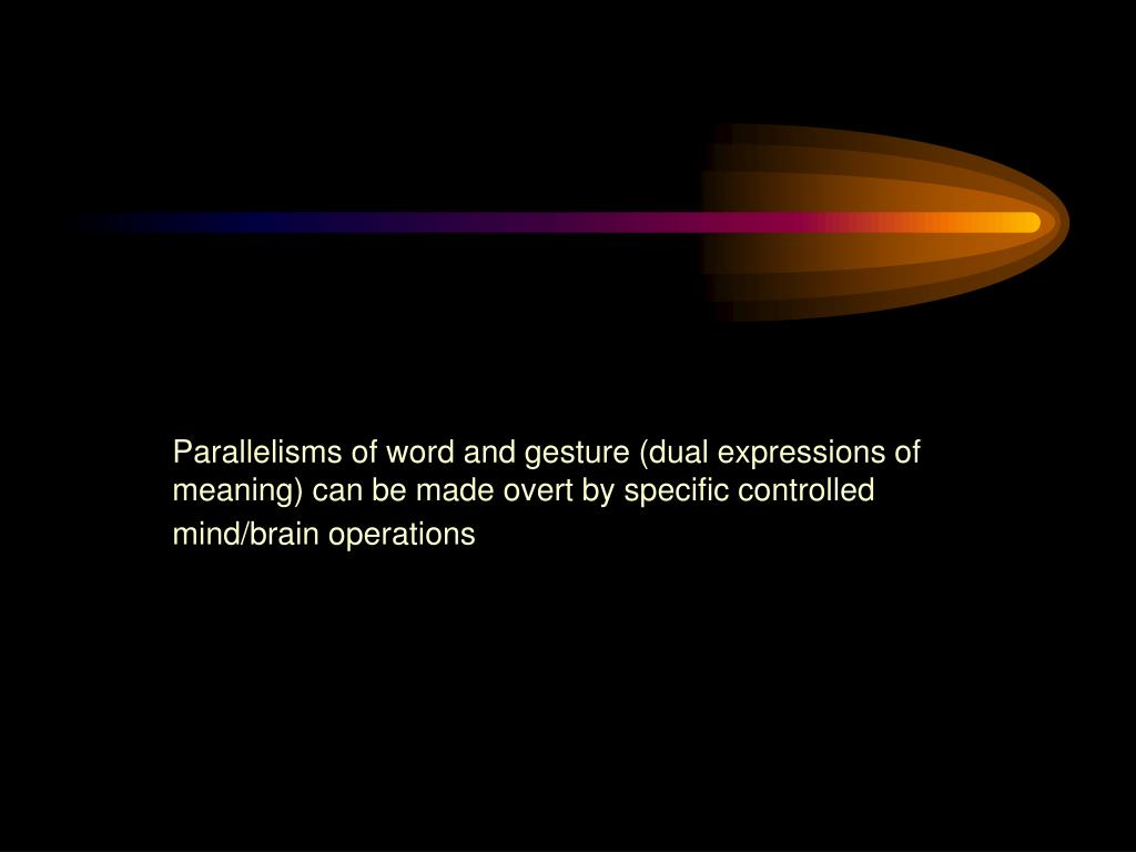 Parallelisms of word and gesture (dual expressions of meaning) can be made overt by specific controlled mind/brain operations