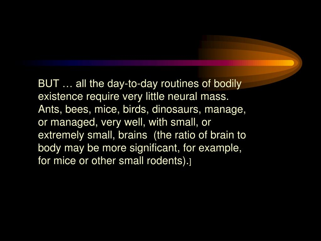 BUT … all the day-to-day routines of bodily existence require very little neural mass. Ants, bees, mice, birds, dinosaurs, manage, or managed, very well, with small, or extremely small, brains  (the ratio of brain to body may be more significant, for example, for mice or other small rodents).