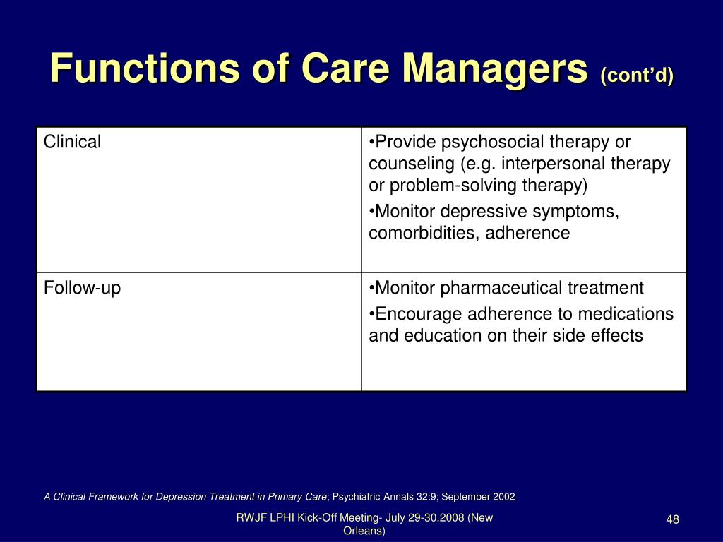 Functions of Care Managers