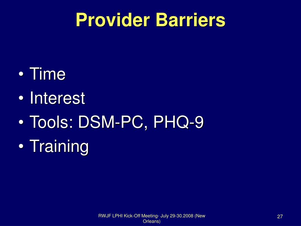 Provider Barriers