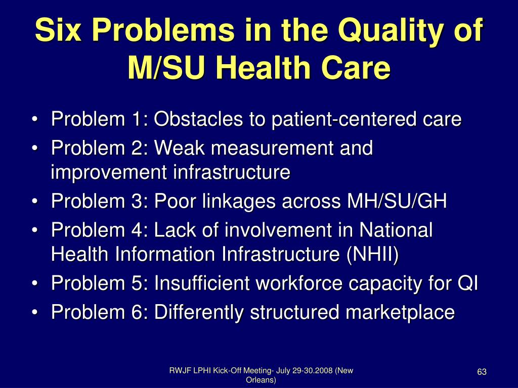 Six Problems in the Quality of M/SU Health Care