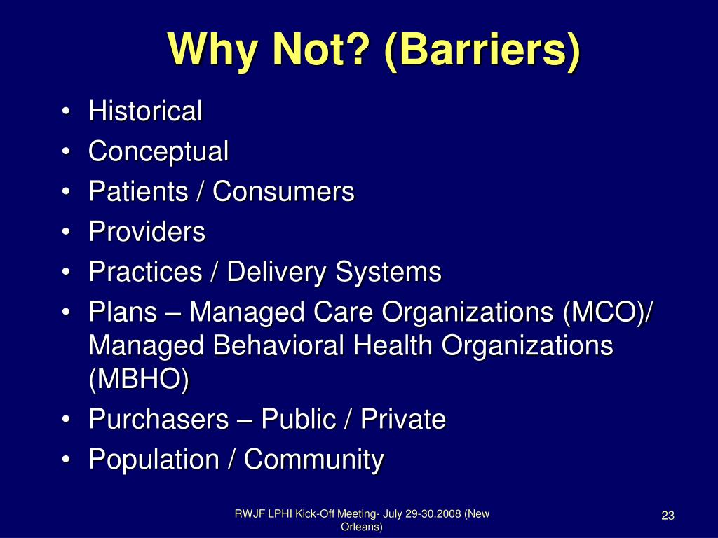 Why Not? (Barriers)