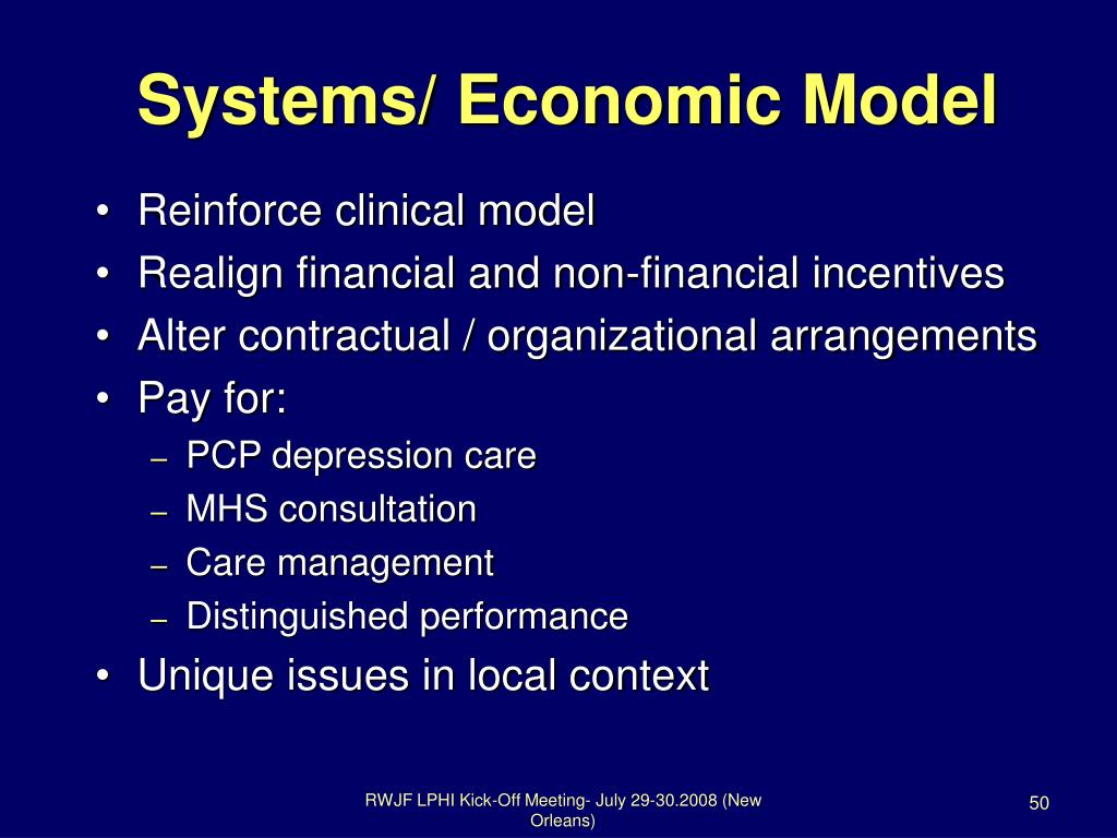 Systems/ Economic Model