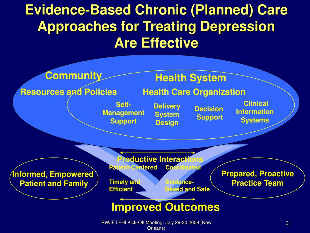 Evidence-Based Chronic (Planned) Care Approaches for Treating Depression