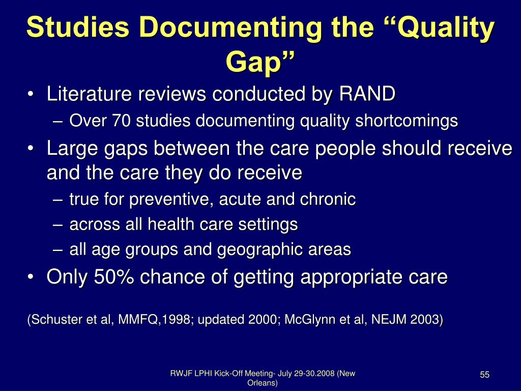 "Studies Documenting the ""Quality Gap"""