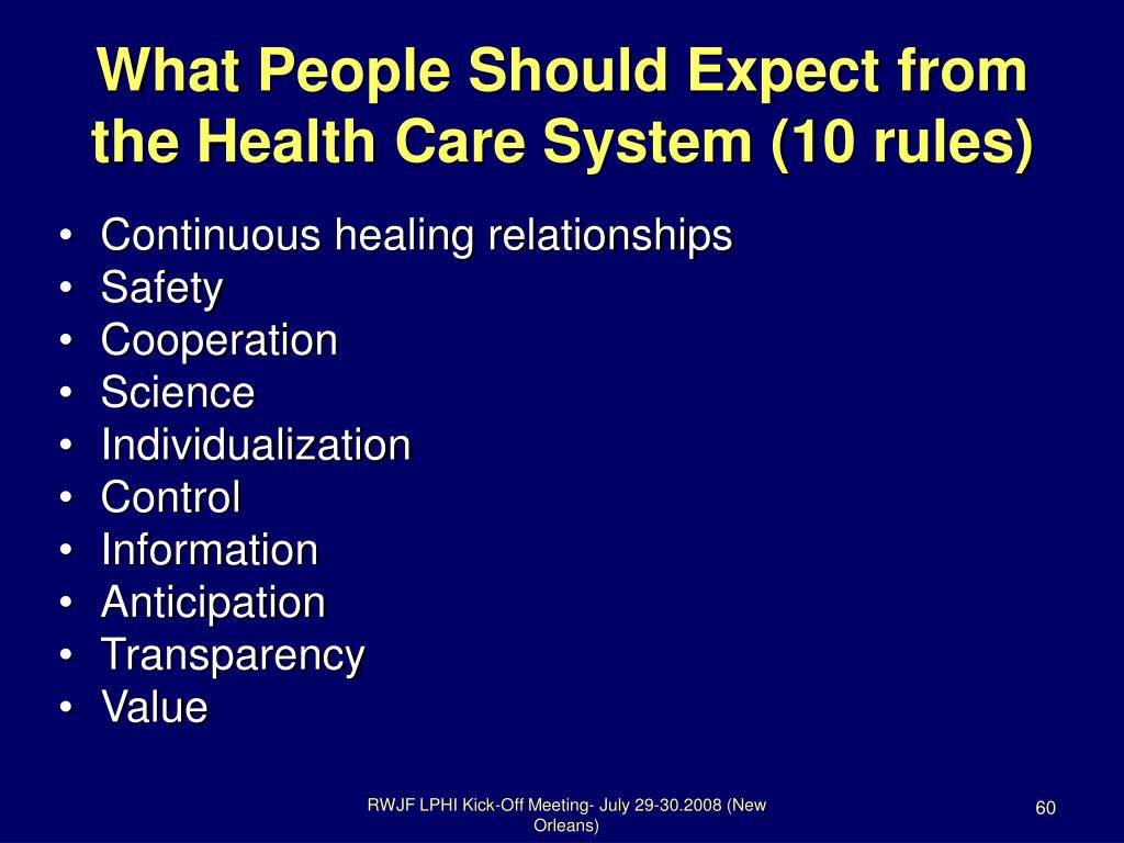 What People Should Expect from the Health Care System (10 rules)
