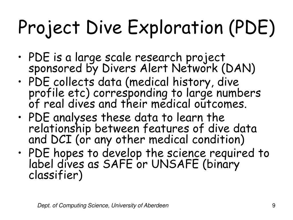 Project Dive Exploration (PDE)