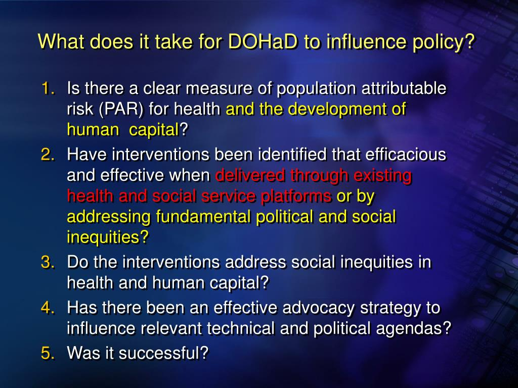 What does it take for DOHaD to influence policy?