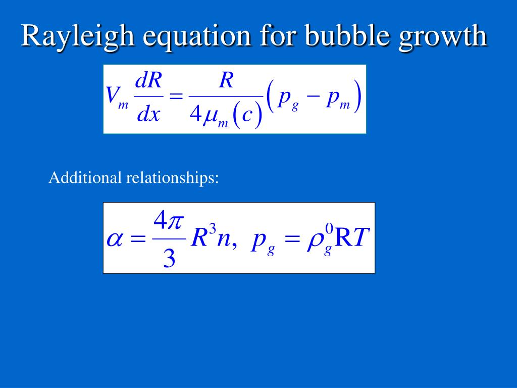 Rayleigh equation for bubble growth
