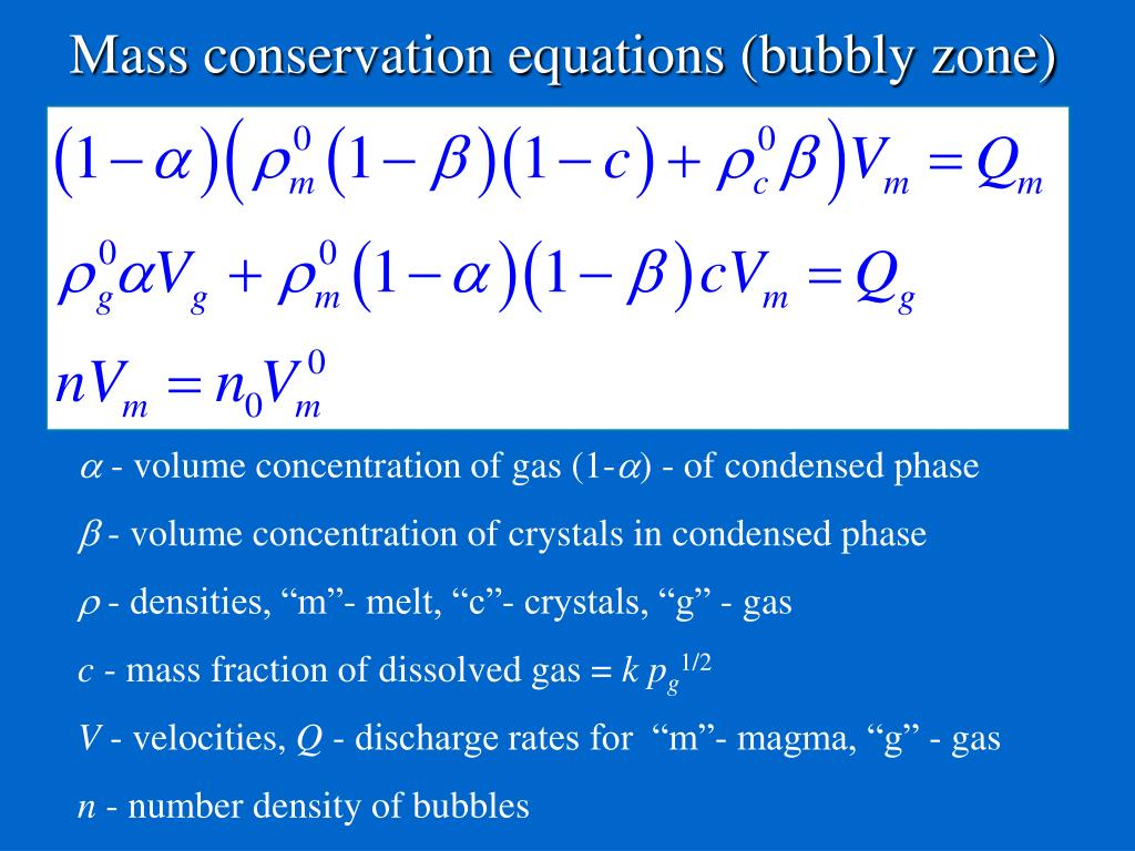 Mass conservation equations (bubbly zone)