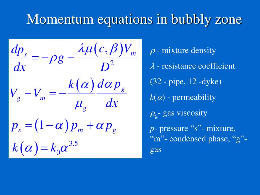 Momentum equations in bubbly zone