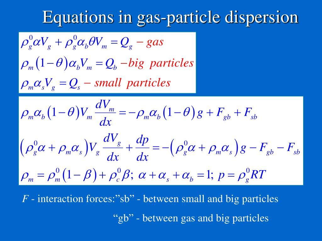 Equations in gas-particle dispersion