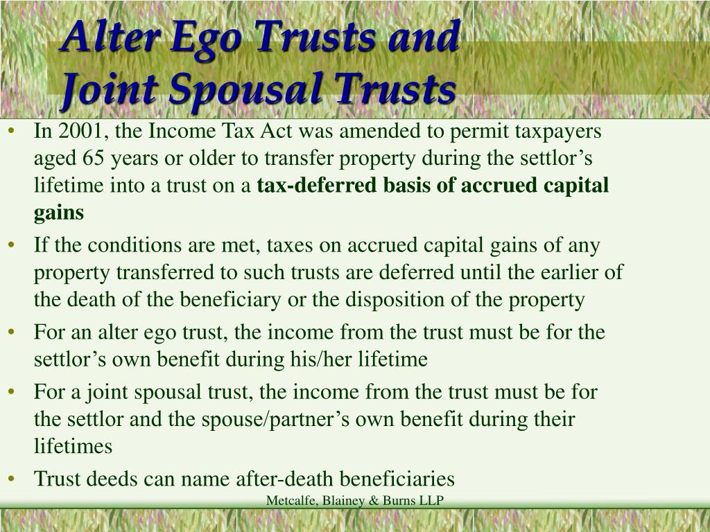 Alter Ego Trusts and