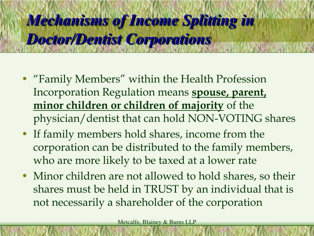 Mechanisms of Income Splitting in Doctor/Dentist Corporations