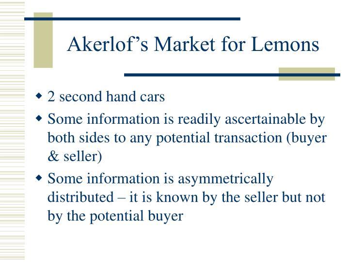 Akerlof's Market for Lemons