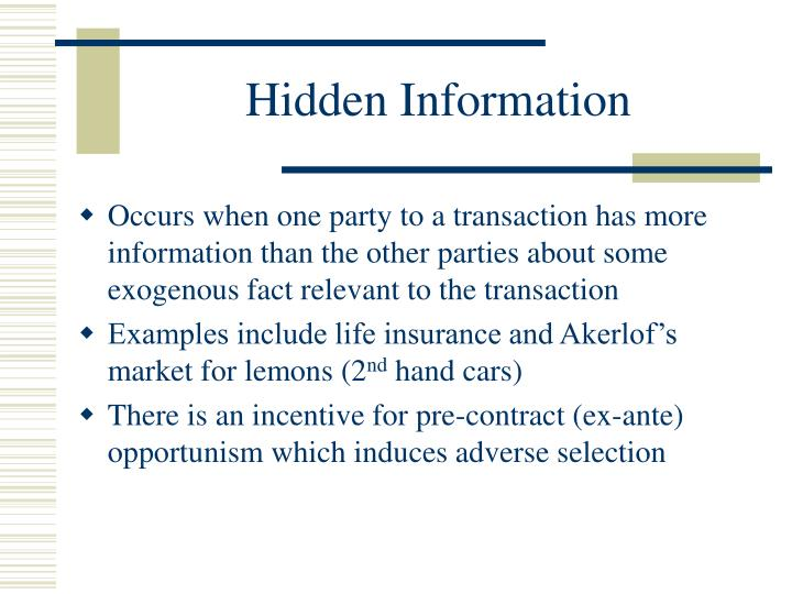 Hidden Information