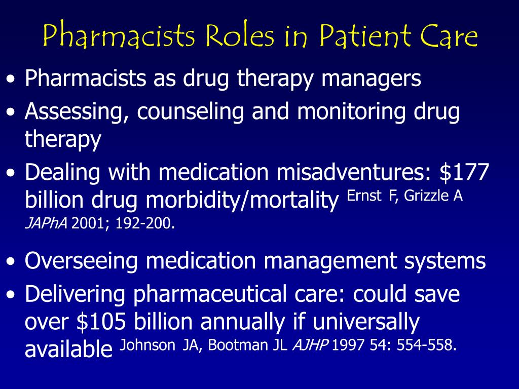 Pharmacists as drug therapy managers