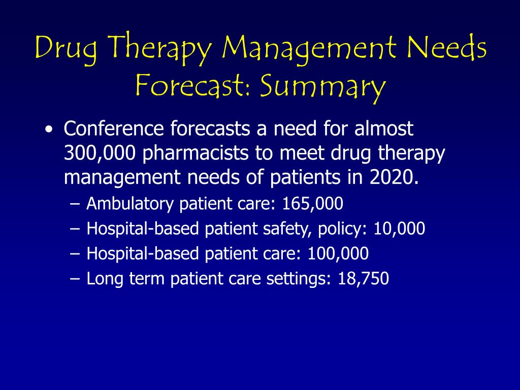 Drug Therapy Management Needs Forecast: Summary