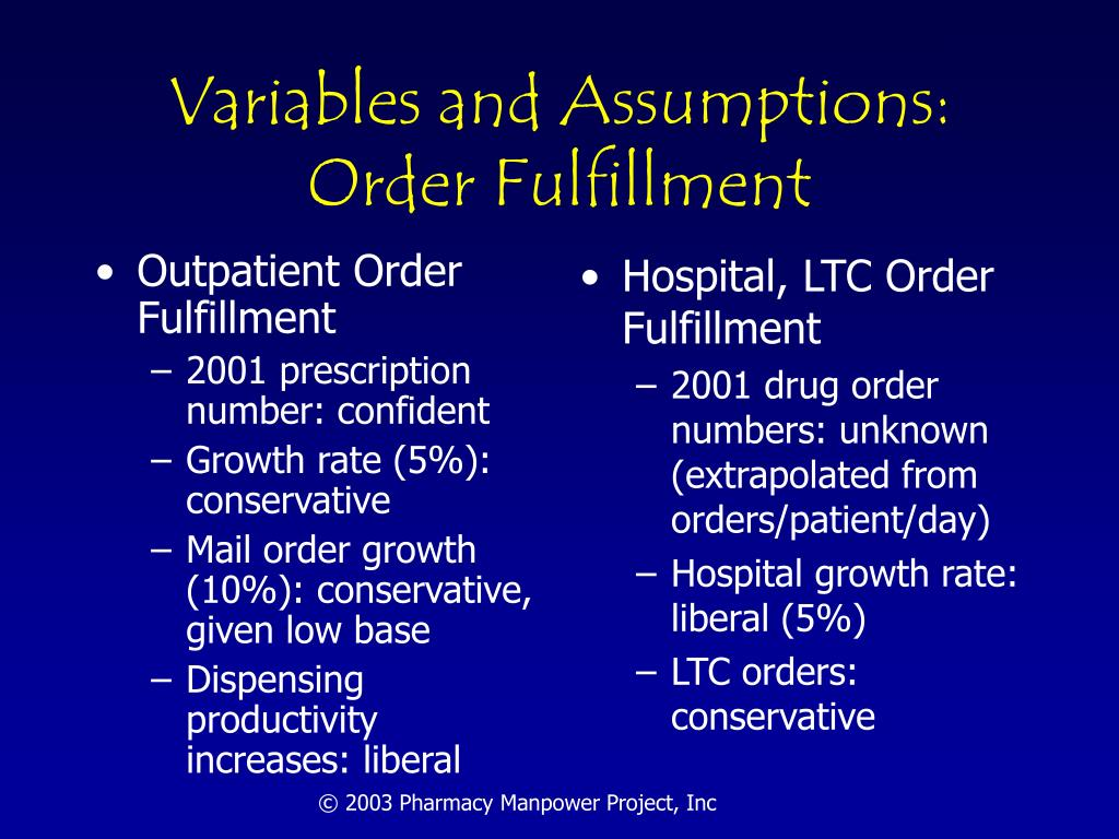 Variables and Assumptions: Order Fulfillment