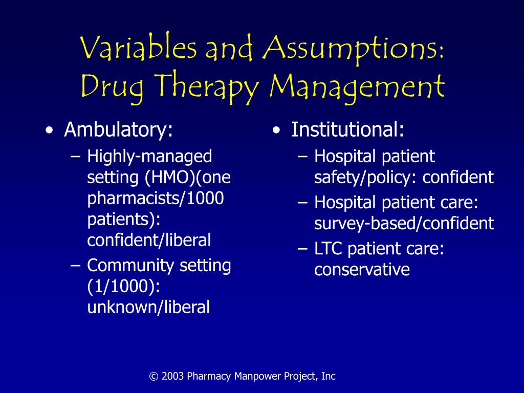 Variables and Assumptions: Drug Therapy Management