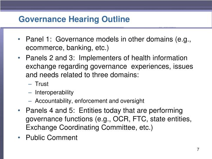 Governance Hearing Outline