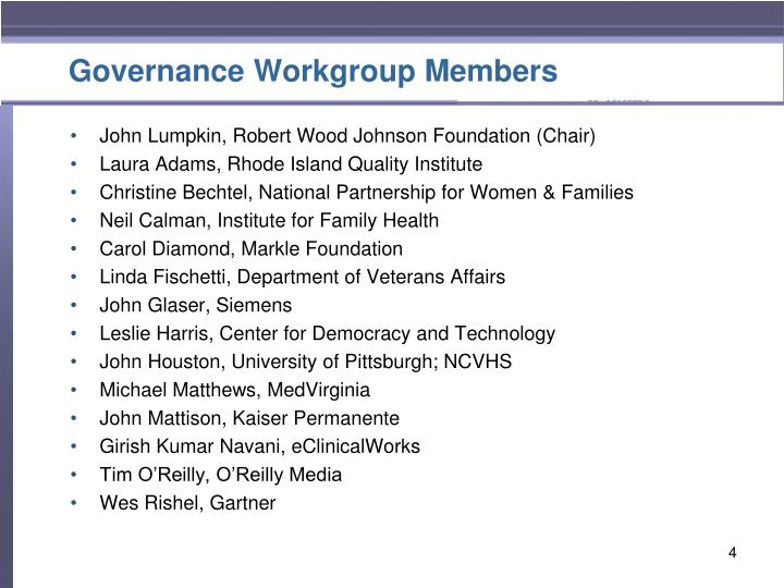 Governance Workgroup Members