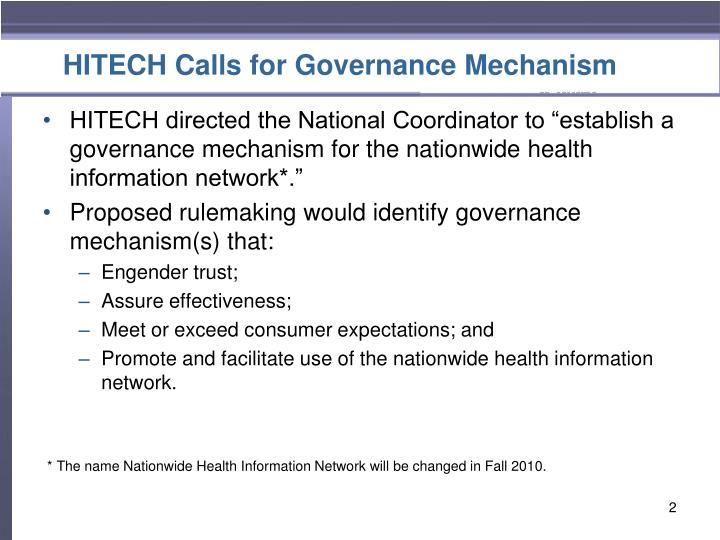 HITECH Calls for Governance Mechanism